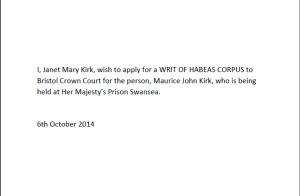 14 10 06 Application for Writ of Habeas Corpus