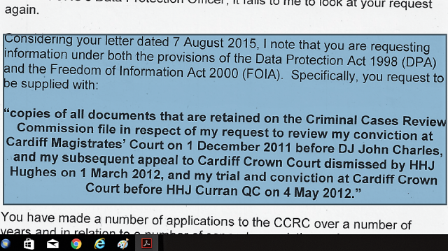 CCRC Refusal of Public Records